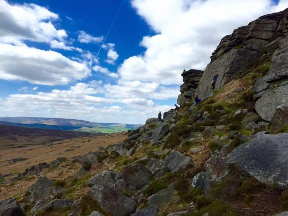 The newbies getting stuck into Fate & Youth, Stanage North